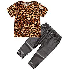 billige Tøjsæt til piger-Pige Daglig Sport Leopard Tøjsæt, Bomuld Polyester Forår Sommer Kortærmet Sødt Aktiv Sort