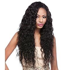 billige Parykker & hair extensions-Remy hår Paryk Peruviansk hår Krøllet Frisure i lag 130% Massefylde Med Baby Hair Til sorte kvinder Sort Kort Lang Mellemlængde Dame