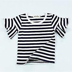 baratos Roupas de Meninas-Bébé Para Meninas Activo Diário / Feriado Listrado Estampado Manga Curta Padrão Algodão Camiseta Preto