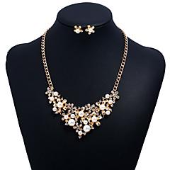 tanie Zestawy biżuterii-Damskie Cyrkonia Pearl imitacja Imitacja pereł Cyrkon Kwiatowy Biżuteria Ustaw Zawierać 1 Naszyjnik Náušnice - Kwiatowy Słodkie Kwiat