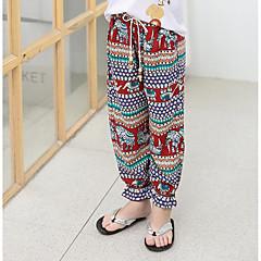 billige Bukser og leggings til piger-Baby Pige Aktiv I-byen-tøj Farveblok Trykt mønster Uden ærmer Bomuld Bukser / Sødt