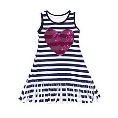 幼児 女の子 活発的 / ボヘミアン 学校 / お出かけ ストライプ スパンコール / タッセル ノースリーブ コットン ドレス ブラック