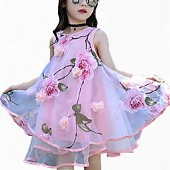 baratos Roupas de Meninas-Infantil Bébé Para Meninas Floral Esportes Floral Estampado Sem Manga Vestido