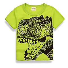 tanie Odzież dla chłopców-Brzdąc Dla chłopców Podstawowy Codzienny / Święto Nadruk Nadruk Krótki rękaw Regularny Bawełna / Poliester T-shirt Zielony