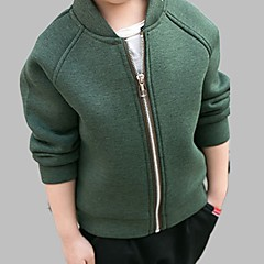 tanie Odzież dla chłopców-Brzdąc Dla chłopców Aktywny Codzienny Solidne kolory Długi rękaw Regularny Bawełna Kurtka / płaszcz Zielony