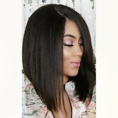 billige Parykker & hair extensions-Jomfruhår Paryk Peruviansk hår Lige Kort bob Bob frisure 130% Massefylde Med Baby Hair Til sorte kvinder Sort Kort Lang Mellemlængde Dame