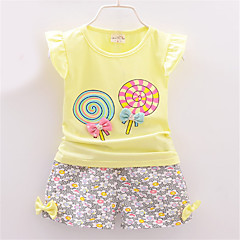 billige Sett med babyklær-Baby Pige Afslappet Trykt mønster Kortærmet Bomuld Tøjsæt