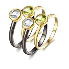Χαμηλού Κόστους Ring Set-Γυναικεία Σετ δαχτυλιδιών Περίδοτο Πολύπετρο 4pcs Ουράνιο Τόξο S925 Sterling Silver 18Κ Επίχρυσο Circle Shape Μοντέρνα Ευρωπαϊκό Δώρο
