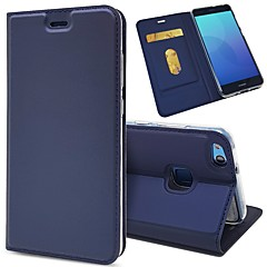 billige Telefoner og nettbrett-Etui Til Huawei P20 / P20 lite Lommebok / Kortholder / Flipp Heldekkende etui Ensfarget Hard PU Leather til Huawei P20 / Huawei P20 lite / P10 Plus