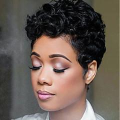 billiga Peruker och hårförlängning-Human Hair Capless Parykar Äkta hår Lockigt Kort Bob Naturlig hårlinje Natur Svart Maskingjord Peruk Dam
