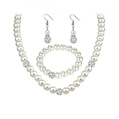 baratos Conjuntos de Bijuteria-Conjunto de jóias - Europeu, Fashion, Elegante Incluir Bracelete / Brincos Compridos / Gargantilhas Branco Para Casamento / Festa