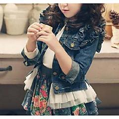 tanie Odzież dla dziewczynek-Dzieci Dla dziewczynek Solidne kolory Kurtka / płaszcz Niebieski 140