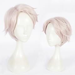 tanie Peruki syntetyczne-Peruki syntetyczne Prosto Różowy Fryzura cieniowana Włosy syntetyczne Naturalna linia włosów Różowy Peruka Damskie Krótki Bez czepka