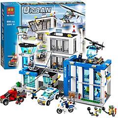 baratos -City Police Station Motorbike Helicopter Model Blocos de Construir 890pcs Arquitetura Vista da cidade Alta qualidade Dom