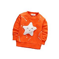 billige Hættetrøjer og sweatshirts til piger-Pige Drenge Daglig Sport Trykt mønster Hættetrøje og sweatshirt, Bomuld Polyester Forår Efterår Langærmet Sødt Aktiv Hvid Orange Lyserød