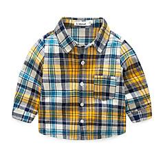 baratos Roupas de Meninos-Bébé Para Meninos Activo Xadrez Estampado Manga Longa Algodão Camisa