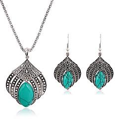 tanie Zestawy biżuterii-Damskie Turkusowy Biżuteria Ustaw 1 Naszyjnik Náušnice - Vintage Modny Nieregularny Silver Kolczyki wiszące Naszyjniki z wisiorkami Na