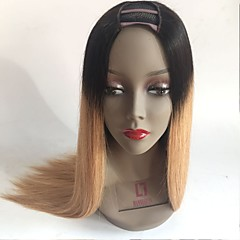 cheap Human Hair Wigs-Unprocessed Human Hair U Part Wig style Brazilian Hair Straight Blonde Wig 130% Density with Baby Hair Ombre Hair Dark Roots Blonde Women's Short Medium Length Long Human Hair Lace Wig Aili Young Hair