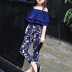 billige Tøjsæt til piger-Børn Pige Blomster Blomstret Halvlange ærmer Normal Bomuld Tøjsæt Navyblå 140