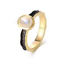 cheap Women's Jewelry-Women's Moonstone S925 Sterling Silver 18K Gold Plated Band Ring - Circle Natural Elegant European For Gift Daily