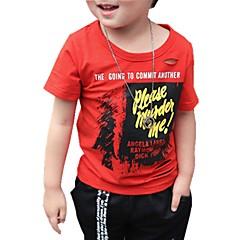 billige Overdele til drenge-Baby Drenge Aktiv Daglig Trykt mønster Hul / Trykt mønster Kortærmet Normal Bomuld T-shirt Grøn