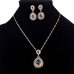 baratos Conjuntos de Bijuteria-Mulheres Zircônia Cubica Conjunto de jóias - Cristal, Zircão Caído Doce Incluir Vermelho / Azul Para Festa / Mascarilha / Brincos