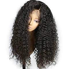 billige Parykker & hair extensions-Remy hår Paryk Brasiliansk hår Kinky Krøller Krøllet Frisure i lag 130% Massefylde Med Baby Hair Til sorte kvinder Sort Kort Lang