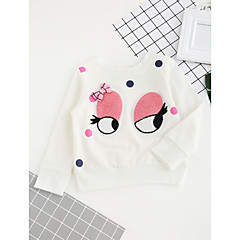 tanie Odzież dla dziewczynek-Dzieci Dla dziewczynek Kwiaty Haft Nadruk Rękaw 3/4 Regularny Bawełna T-shirt Biały 140