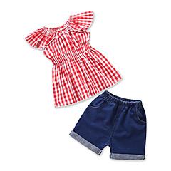 billige Tøjsæt til piger-Baby Pige Aktiv Daglig / Skole Houndstooth mønster Kortærmet Normal Normal Bomuld / Polyester Tøjsæt Rød / Sødt