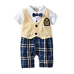 billige Tøjsæt til drenge-Børn Drenge Ensfarvet Houndstooth mønster Kortærmet Tøjsæt