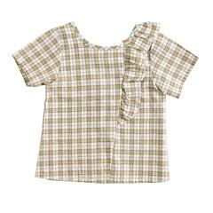 baratos Roupas de Meninas-Infantil Para Meninas Xadrez Manga Curta Camisa