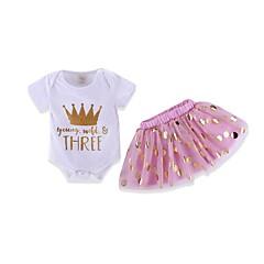 billige Tøjsæt til piger-Baby Pige Aktiv Prikker / Trykt mønster Kortærmet Bomuld Tøjsæt