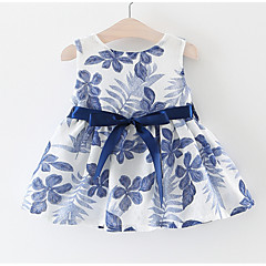 billige Babykjoler-Baby Pige Basale Ferie Blomstret Sløjfer / Blondér Uden ærmer Knælang Bomuld Kjole