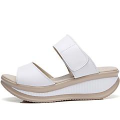 baratos Chinelos-Chinelos de Mulher Chinelos Courino / Pele Cor Única Sapatos