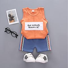 billige Tøjsæt til drenge-Børn / Baby Drenge Trykt mønster Uden ærmer Tøjsæt