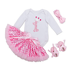 billige Babytøj-Baby Pige Daglig Ensfarvet Langærmet Normal Polyester Tøjsæt Lyserød 59 / Sødt