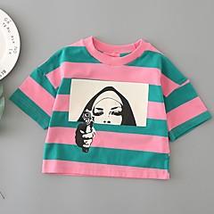 billige Pigetoppe-Børn Pige Stribet Trykt mønster Halvlange ærmer T-shirt