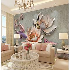 billige Tapet-tilpasset preget rosa lotus stor veggdekorasjon veggmaleri tapet egnet for kontor soverom restaurant landskap