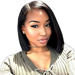 billiga Peruker och hårförlängning-Remy-hår Peruk Brasilianskt hår / Eurasiskt hår Rak Bob-frisyr 150% Densitet Afro-amerikansk peruk / Naturlig hårlinje Svart / Naturlig