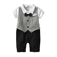 billige Tøjsæt til drenge-Baby Drenge Houndstooth mønster Kortærmet Tøjsæt