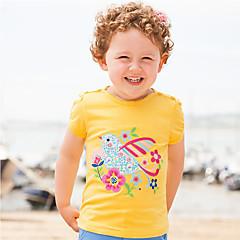 baratos Roupas de Meninas-Infantil / Bébé Para Meninas Galáxia / Houndstooth Manga Curta Camiseta