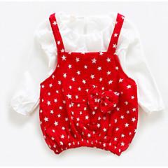 baratos Roupas de Meninas-Bébé Para Meninas Com Babado Poá Manga Longa Algodão Vestido Vermelho 100