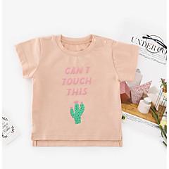 billige Babyoverdele-Baby Unisex Basale Blomstret Kortærmet Bomuld T-shirt Lyserød