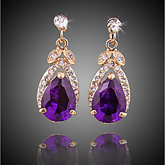 cheap Earrings-Women's Crystal Drop Earrings - Gold Plated Simple, Fashion Purple For Party / Evening / Office & Career