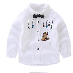 billige Overdele til drenge-Børn Drenge Basale Daglig Geometrisk Trykt mønster Langærmet Normal Bomuld Skjorte Hvid