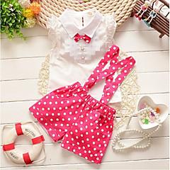 billige Tøjsæt til piger-Baby Pige Aktiv Ferie Prikker Blonder / Sløjfer Uden ærmer Bomuld Tøjsæt