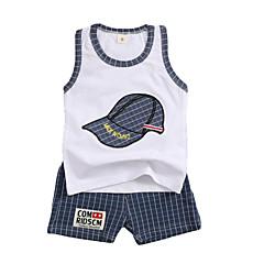 billiga Babykläder Pojkar-Bebis Pojkar Aktiv Dagligen Lappverk Tryck Ärmlös Normal Bomull / Polyester Klädesset Blå / Småbarn