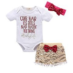 billige Tøjsæt til piger-Baby Pige Aktiv Trykt mønster Kortærmet Bomuld Tøjsæt