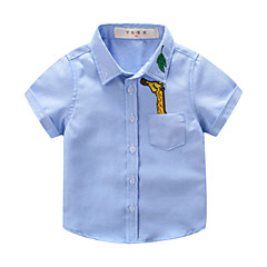 baratos Roupas de Meninos-Infantil / Bébé Para Meninos Estampado Manga Curta Camisa