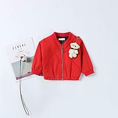 billige Overtøj til babyer-Baby Unisex / Pige Aktiv Daglig Ensfarvet / Patchwork Patchwork Langærmet Normal Polyester Jakkesæt og blazer Sort